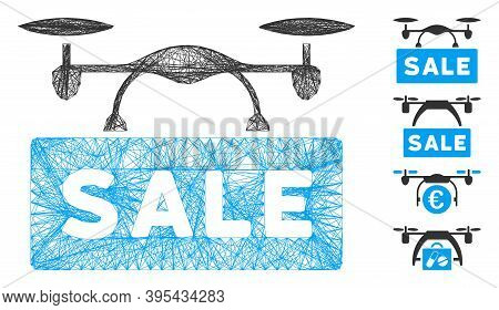 Vector Net Airdrone Sale. Geometric Linear Carcass Flat Net Made From Airdrone Sale Icon, Designed F