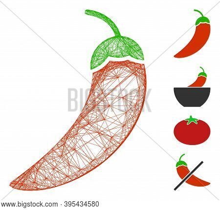 Vector Wire Frame Chili Pepper. Geometric Wire Frame Flat Network Made From Chili Pepper Icon, Desig