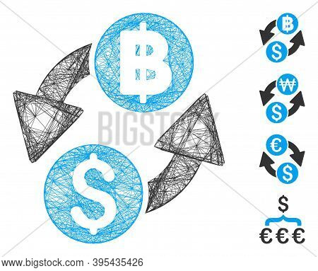 Vector Network Dollar Baht Exchange. Geometric Wire Frame 2d Network Generated With Dollar Baht Exch