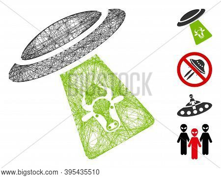 Vector Net Cattle Ufo Abduction. Geometric Hatched Frame 2d Net Generated With Cattle Ufo Abduction