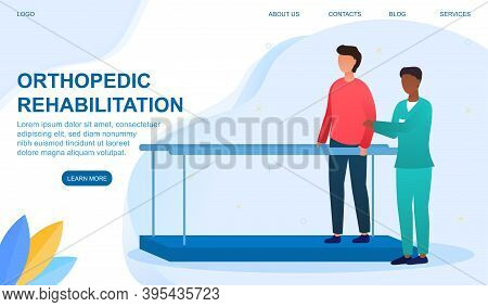 Disabled Man At Orthopedic Rehabilitation Therapy At Clinic. The Doctor Teaches The Patient To Walk