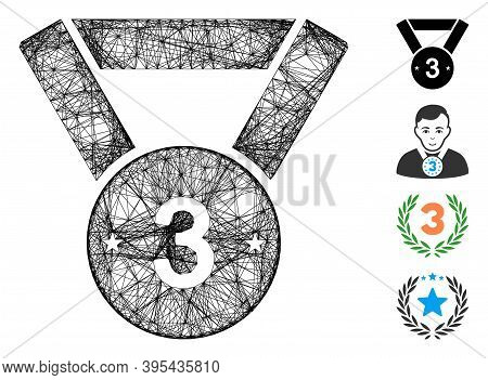 Vector Network Medal Third. Geometric Wire Carcass Flat Network Made From Medal Third Icon, Designed