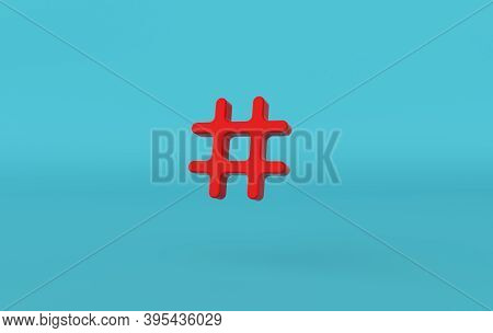 Hashtag Search Link Symbol 3d Rendering. Hash Mark, User Reply Sign, Hashtag, Tag, Comments Thread M