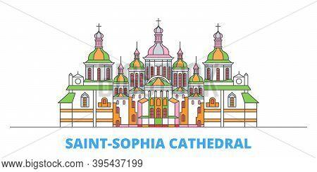 Ukraine, Kiev, Saint Sophia Cathedral Line Cityscape, Flat Vector. Travel City Landmark, Oultine Ill