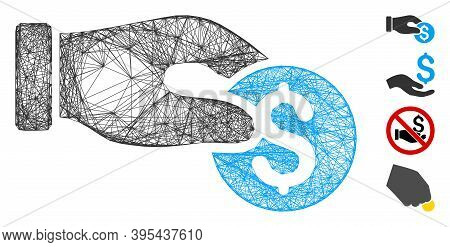 Vector Wire Frame Coin Donation. Geometric Linear Frame Flat Net Generated With Coin Donation Icon,