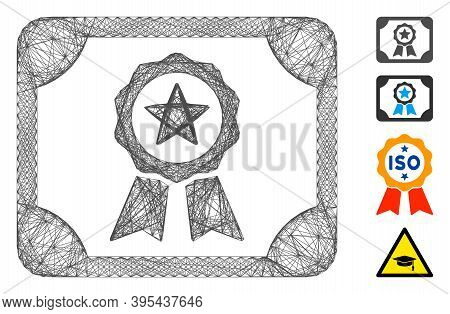 Vector Network Authorize Diploma. Geometric Linear Frame Flat Network Made From Authorize Diploma Ic