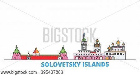 Russia, Solovetsky Islands Line Cityscape, Flat Vector. Travel City Landmark, Oultine Illustration,
