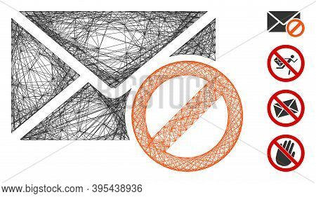 Vector Wire Frame Stop Spam. Geometric Wire Frame Flat Network Generated With Stop Spam Icon, Design