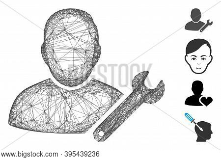 Vector Wire Frame User Customize Wrench. Geometric Wire Frame Flat Net Generated With User Customize