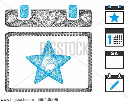 Vector Wire Frame Favourites Calendar Page. Geometric Wire Frame 2d Network Made From Favourites Cal