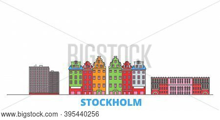 Sweden, Stockholm City Line Cityscape, Flat Vector. Travel City Landmark, Oultine Illustration, Line