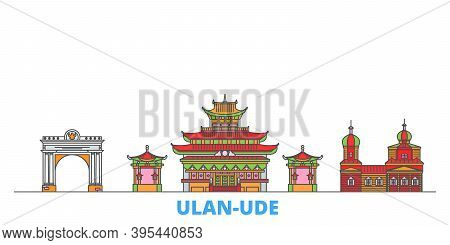 Russia, Ulan Ude Line Cityscape, Flat Vector. Travel City Landmark, Oultine Illustration, Line World