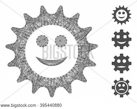 Vector Wire Frame Cog Glad Smiley. Geometric Wire Frame 2d Network Generated With Cog Glad Smiley Ic