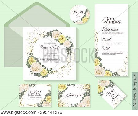 Vector Template For Wedding Invitation. Beige And White Roses, Eucalyptus, Geometric Golden Shapes,