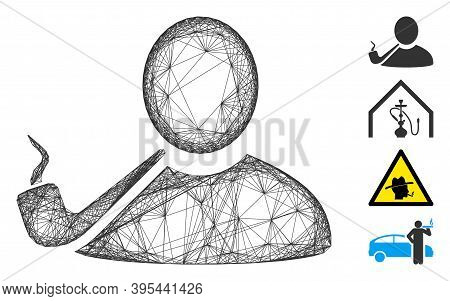 Vector Wire Frame Pipe Smoker. Geometric Hatched Frame Flat Network Made From Pipe Smoker Icon, Desi