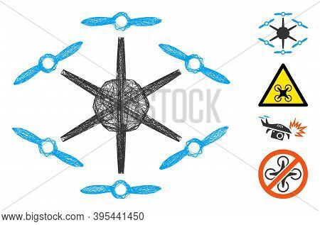 Vector Wire Frame Hexacopter. Geometric Wire Frame Flat Network Based On Hexacopter Icon, Designed F