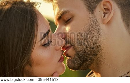 Seduction And Foreplay. Sensual Kiss. Kiss Close Up. Touch Of Lips. Voluptuous Concept. Tempting Kis