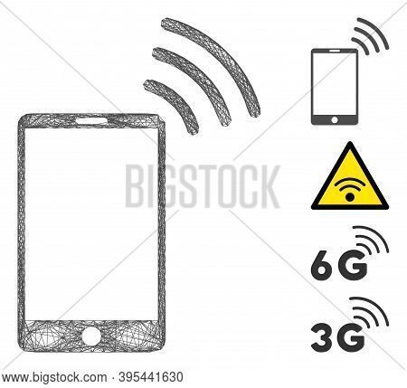 Vector Wire Frame Mobile Wi-fi Signal. Geometric Hatched Frame Flat Network Made From Mobile Wi-fi S