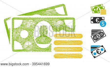 Vector Net Cash. Geometric Hatched Carcass Flat Net Made From Cash Icon, Designed From Crossed Lines