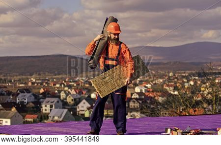 Roof Installation. Man Hard Hat Work Outdoor. Building House. Roof Mechanic Concept. Removing Hazard