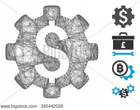 Vector Wire Frame Financial Options. Geometric Wire Frame Flat Network Generated With Financial Opti
