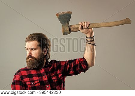 Raise A Riot. Male Hairdresser Or Barbershop. Brutal Butcher In Shirt. Lumberjack Ready To Work In F