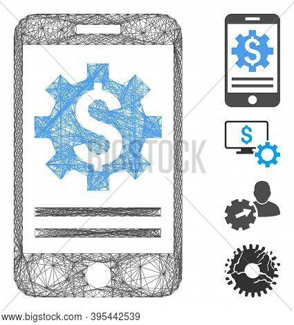 Vector Wire Frame Mobile Bank Options. Geometric Linear Frame 2d Net Made From Mobile Bank Options I