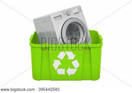 Recycling Trashcan With Washing Machine, 3d Rendering Isolated On White Background