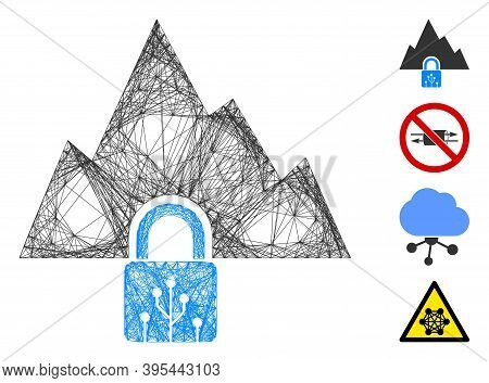 Vector Wire Frame Vpn Tunnel. Geometric Wire Frame 2d Network Made From Vpn Tunnel Icon, Designed Fr