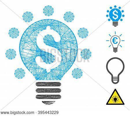 Vector Network Business Patent Bulb. Geometric Wire Frame Flat Network Made From Business Patent Bul