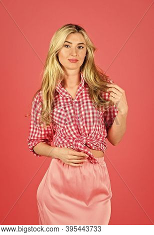 Summer Collection. Pin Up Style. Vintage And Retro. Hot Desirable Blonde. Playful Lady On Red Backgr