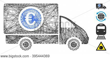 Vector Wire Frame Delivery Cost. Geometric Linear Frame 2d Net Generated With Delivery Cost Icon, De