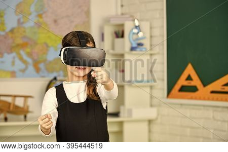 It Is So Real. Teenage Schoolgirl In Classroom. Back To School. In A Computer Science Class. Works O