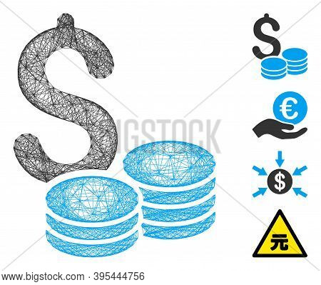 Vector Wire Frame Dollar Coins. Geometric Wire Frame Flat Net Generated With Dollar Coins Icon, Desi