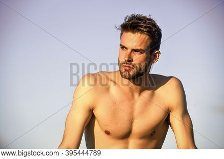 His Body Is Perfect. Sportsman And Fitness Model. Naked Strong Man. Muscular Strong Man Has Bristle