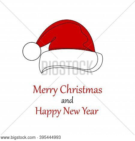 Christmas Santa Claus Hat. Banner Or Card With Christmas Santa Claus Hat. One Line Drawing. Vector I