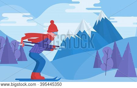 Active Winter Vacation Sports. Resort Activity. Skiing Winter Landscape Design. Travel Outdoor,cold