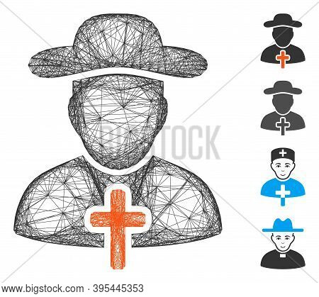 Vector Network Cleric. Geometric Wire Carcass Flat Network Made From Cleric Icon, Designed From Cros