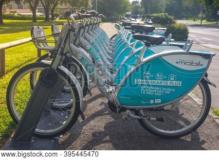 Klagenfurt, Austria- August 26, 2020: Bicycles For Rent Near The Park Of Lake Worthersee, Famous Tou