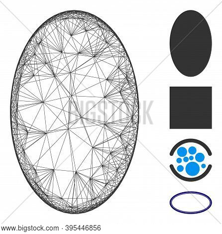 Vector Net Filled Ellipse. Geometric Hatched Frame Flat Net Generated With Filled Ellipse Icon, Desi