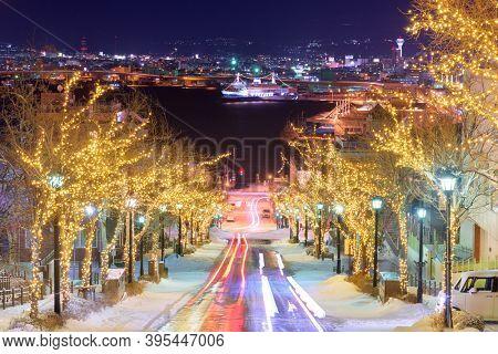 Hakodate, Hokkaido, Japan on Hachiman-zaka slope with holiday lighting at night.