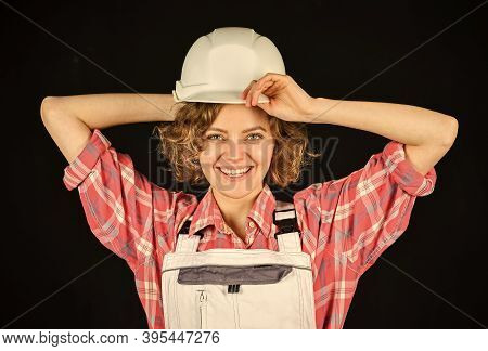 Planning Home Renovation. Girl At Construction Site. Warehouse Woman Worker. Female Quality Inspecto
