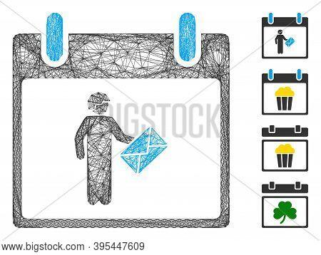 Vector Wire Frame Postman Calendar Day. Geometric Wire Frame 2d Net Made From Postman Calendar Day I