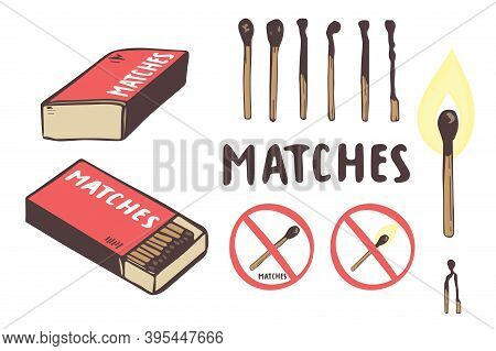 Safety Match Ignite Burn Icons Set. Hand Drawing. Cartoon Illustration Of Doodle Safety Match Vector