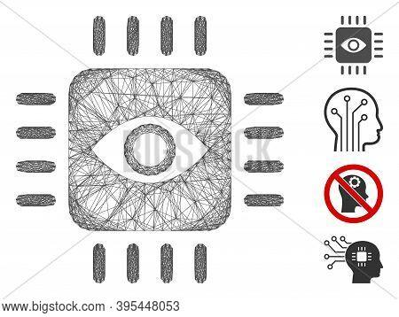 Vector Wire Frame Bionic Eye Processor. Geometric Linear Frame 2d Network Made From Bionic Eye Proce