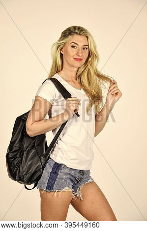 Lets Go. Thirst For Travel. Sensual Girl Carry Travel Backpack. Sexy Tourist Travel With Backpack. S