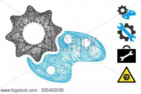 Vector Net Configure Palette. Geometric Wire Carcass Flat Net Generated With Configure Palette Icon,