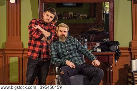 Facial Hair. Handsome Hipster. Person Sitting In Hydraulic Chair. Visit Hairdresser. Maintaining Sha