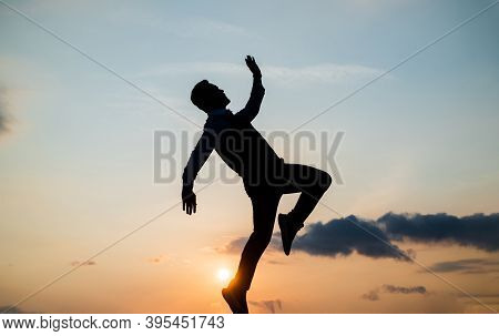 To Be Free. Free Man Dancing. Happiness. Need The Inspiration. Man Feel Motivation. Full Of Energy.