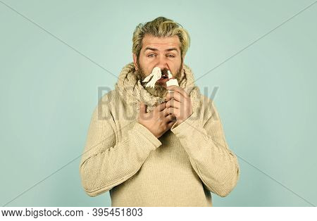 Hipster Feels Badly Ill Sneezing. Effective Nasal Spray. Runny Nose And Other Symptoms Of Cold. Coro